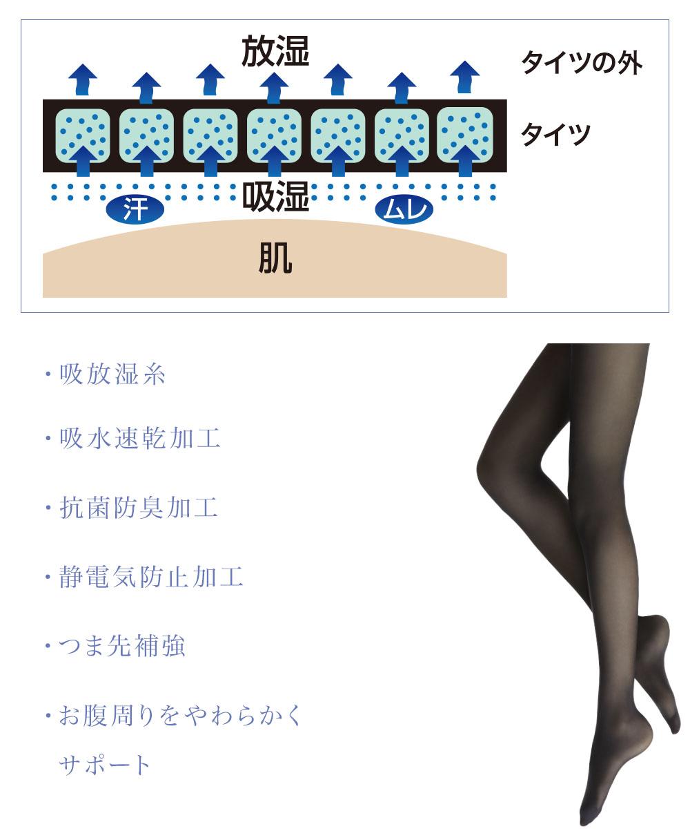 """特別な糸「吸放湿糸」が、タイツ内の""""ムレ感""""を解消。靴やブーツの中も快適に!"""