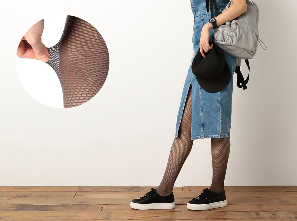 FRANTICA closet ラメ擬似ネット ストッキング